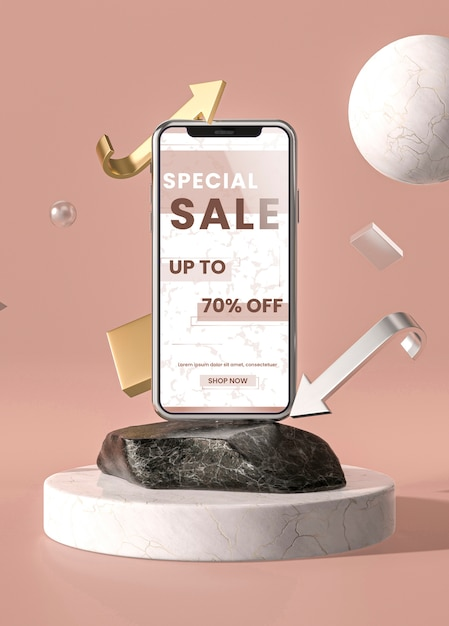 Mobile phone 3d mock-up with marble and holder Free Psd