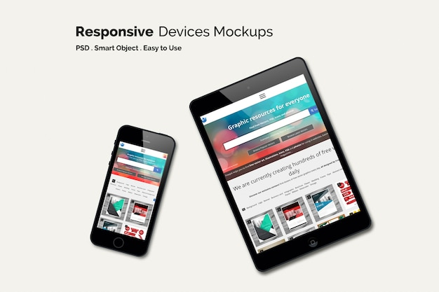 Mobile phone and tablet mock up Free Psd