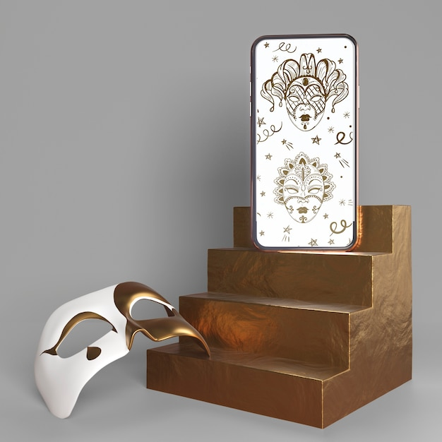 Mobile phone carnival app mock-up and mask with stairs Free Psd