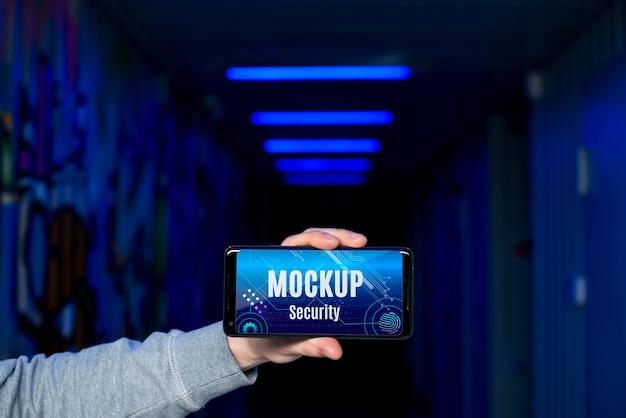 Макет цифровой безопасности мобильного телефона Бесплатные Psd