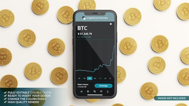 携帯電話のモックアップと3dレンダリングのビットコイン Premium Psd