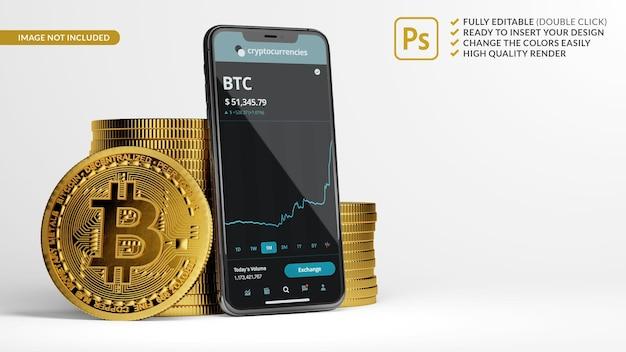 3dレンダリングでビットコインのスタックの横にある携帯電話のモックアップ Premium Psd