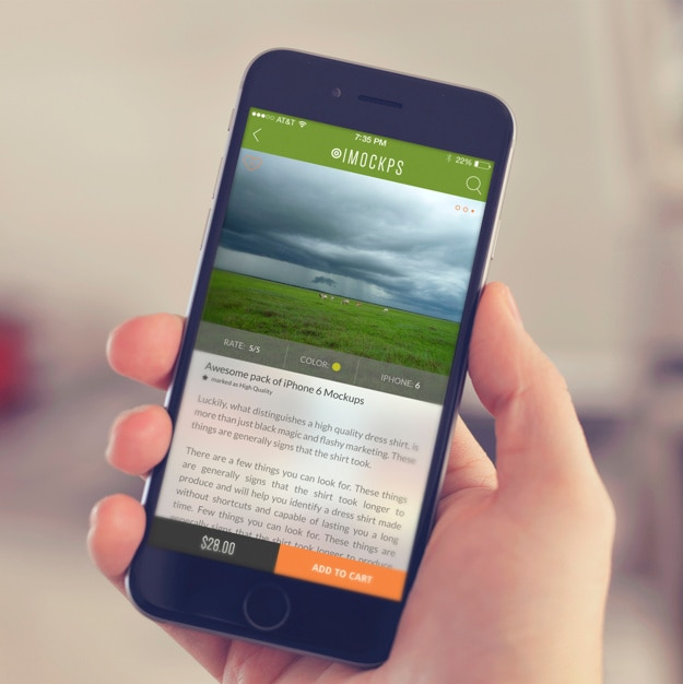 Mobile phone screen mock up design Free Psd