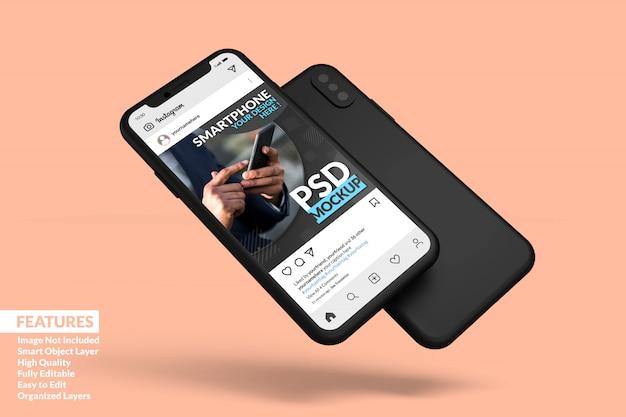 Mobile phone screen mockup floating to display sosial media post template premium Premium Psd