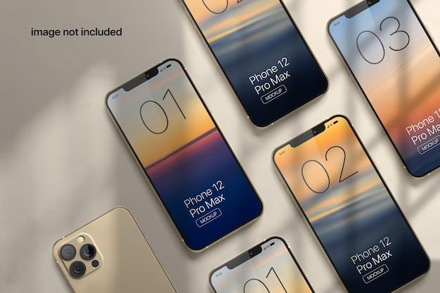 그림자 오버레이가있는 휴대 전화 화면 모형 프리미엄 PSD 파일