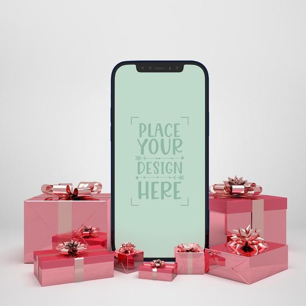 プレゼントに囲まれた携帯電話 無料 Psd