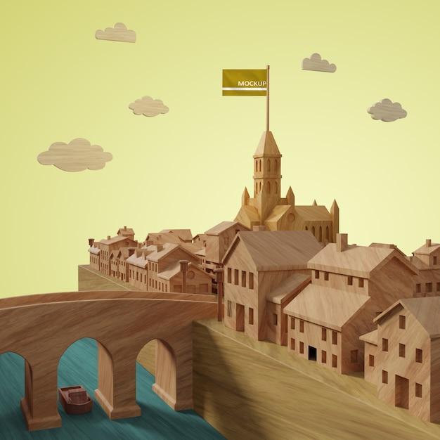 モックアップ3d都市建物モデル 無料 Psd