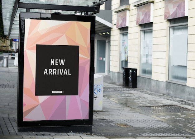 Mock up of an advertisement in a bus stop Free Psd