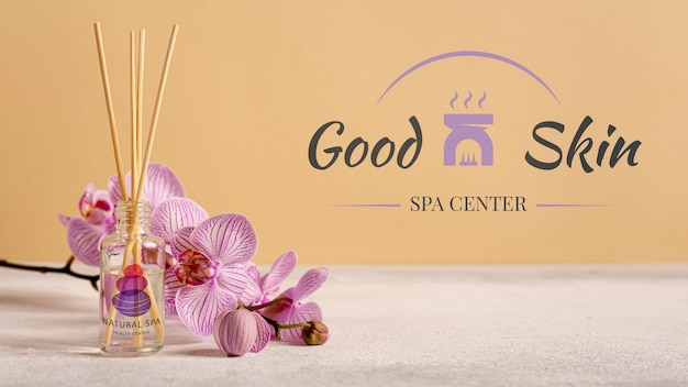Mock-up aromatic cosmetic products at spa Free Psd