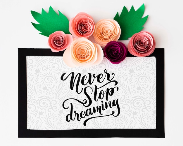 Mock-up artistic floral frame with inspirational message Free Psd