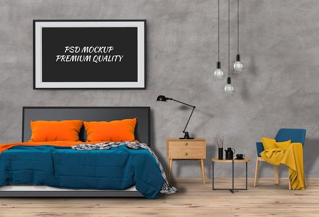 Mock up blank poster interior bed room. 3d render Premium Psd
