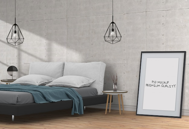 Mock up blank poster interior bed room Premium Psd