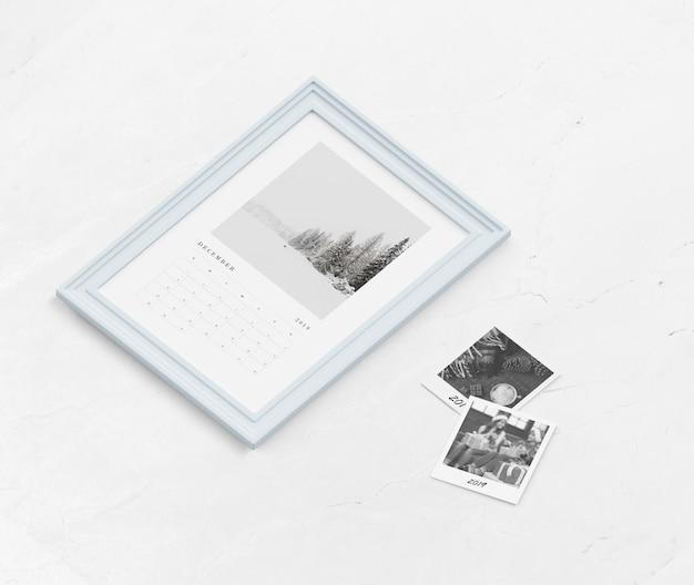 Макет календаря в рамке для рисования Бесплатные Psd