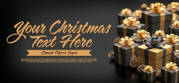 Mock up of a christmas banner Premium Psd