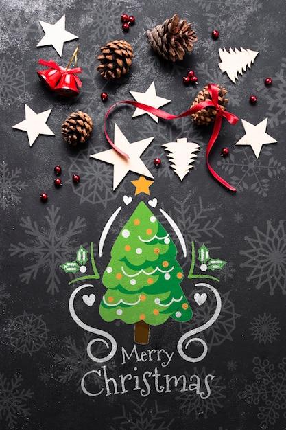 Рождественский макет с художественными оформлениями Бесплатные Psd