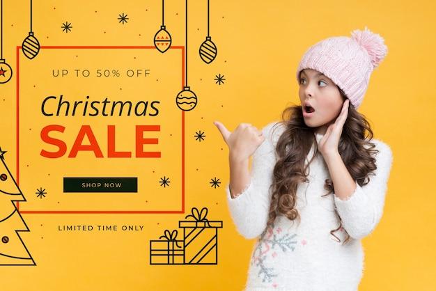 Макет рождественского рекламного скидки Бесплатные Psd