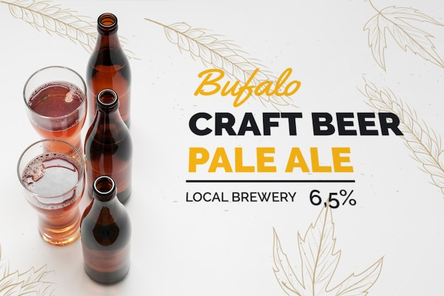 Mock-up craft beer in glasses on table Free Psd