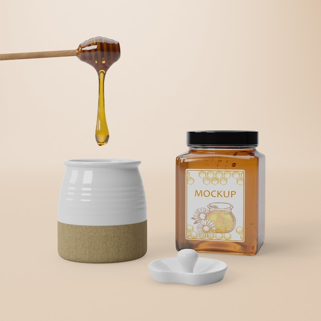 Mock-up delicious honey product Free Psd