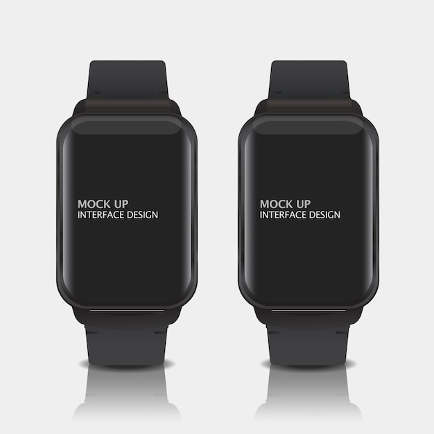 Mock up digital display interface design for smart watch Free Psd