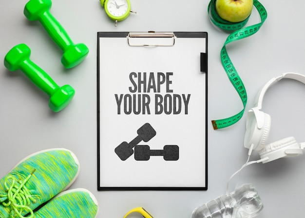 Mock-up fitness equipment and tools Free Psd