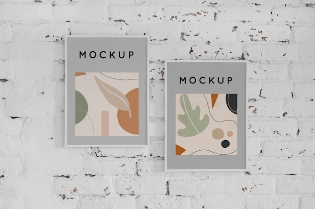 Mock up frame on wall Free Psd