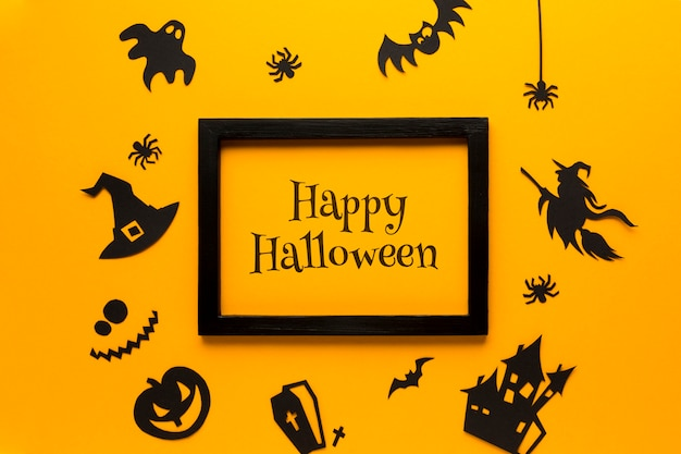 Mock-up and frame with halloween Free Psd