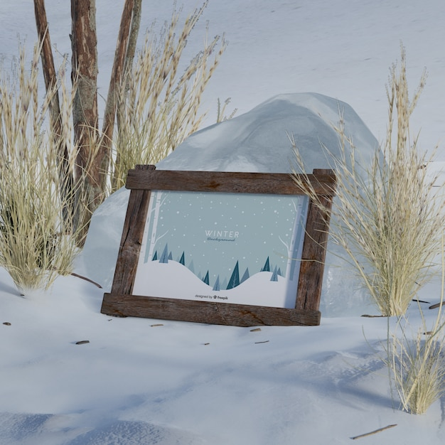 Mock-up frame with winter picture Free Psd