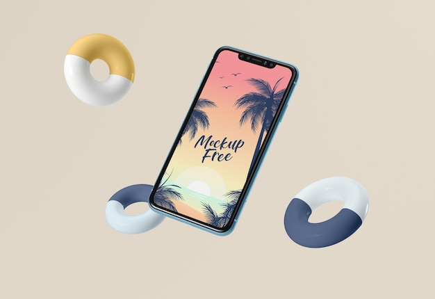 Mock-up free with phone and lifelines Free Psd
