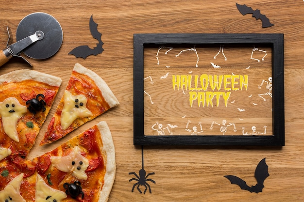 Mock-up halloween pizza concept Free Psd