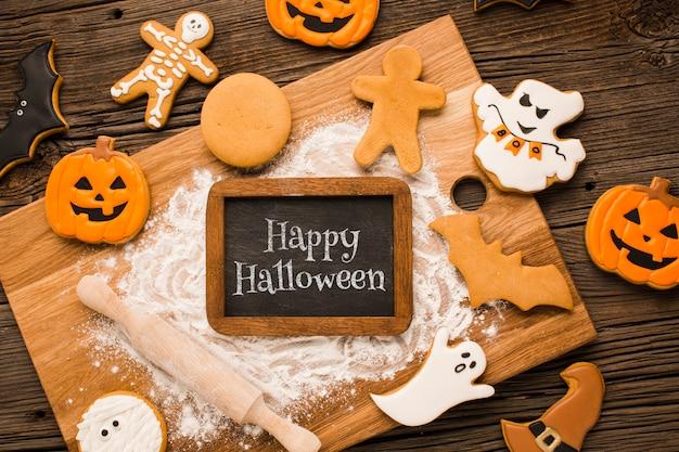 Mock-up halloween treats process Free Psd