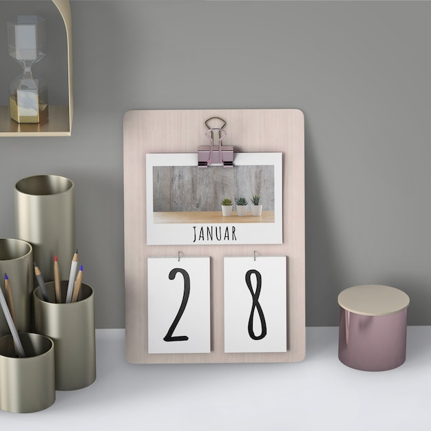 Mock up of hand drawn calendar Free Psd