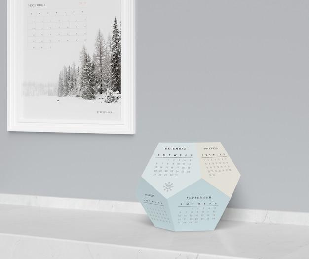 Макет гексагональной концепции календаря Бесплатные Psd