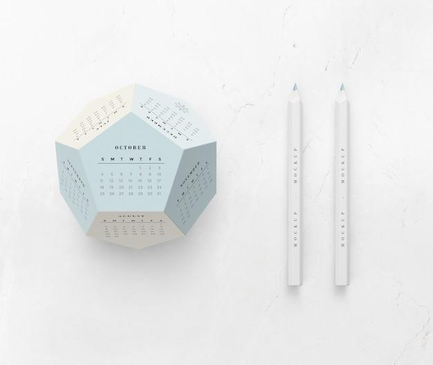 Mock-up hexagonal calendar concept Free Psd