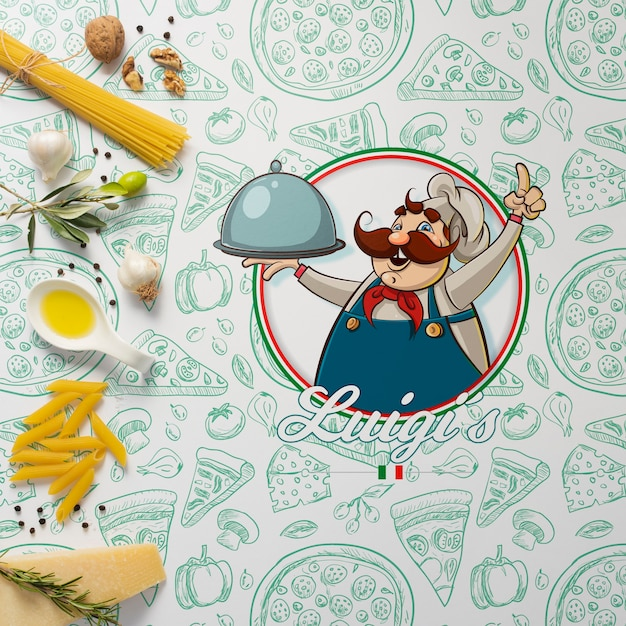 Mock-up ingredients for italian dish Free Psd