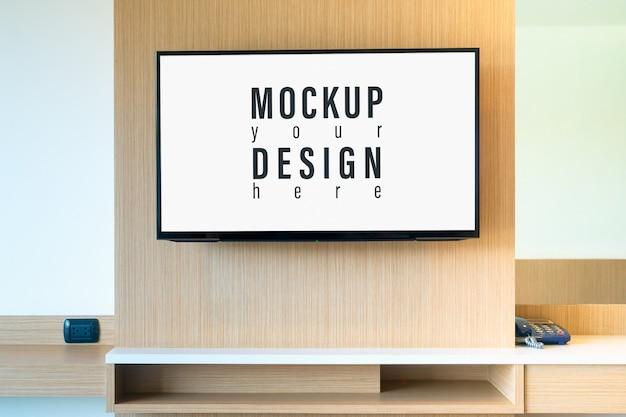 Mock up lcd tv in bedroom. Premium Psd
