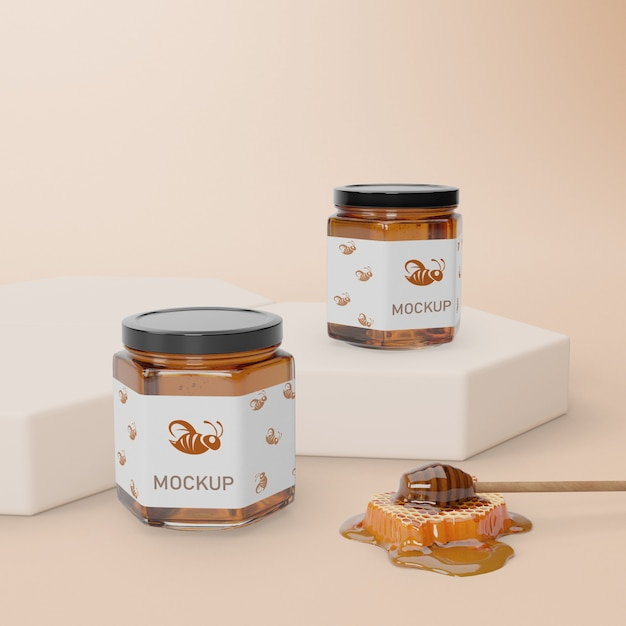 Mock-up natural honey product Free Psd