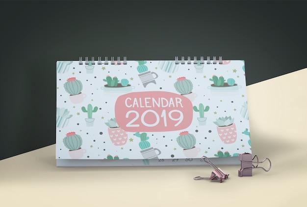 Макет рисованной календарь Premium Psd