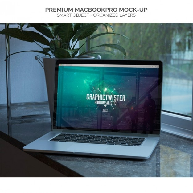 Mock-up of macbookpro Free Psd