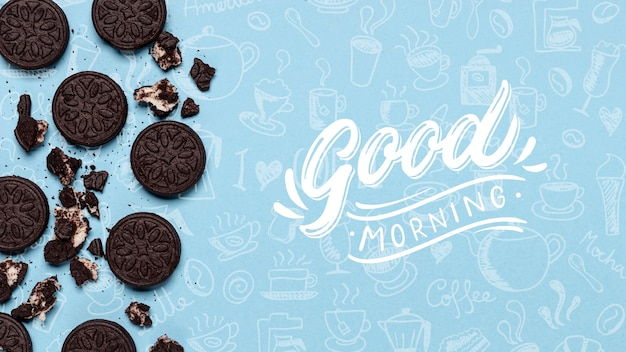 Mock-up oreo cookies on table Free Psd