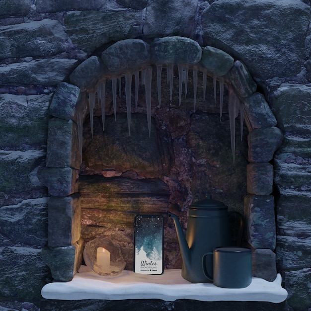 Mock-up phone and kettle placed on fireplace Free Psd
