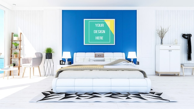寝室の壁にフォトフレームをモックアップ Premium Psd