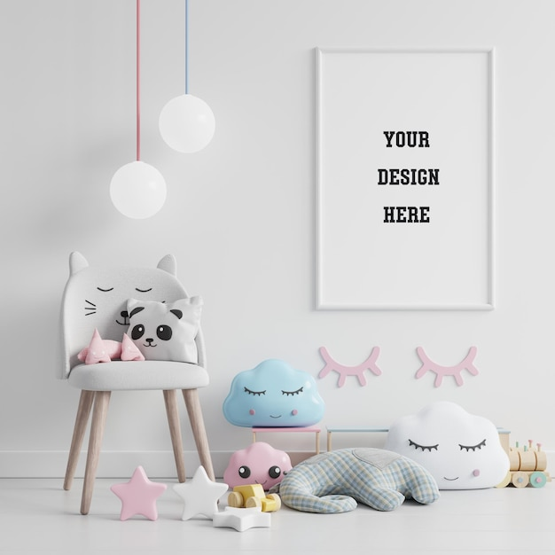 Mock up poster frame in children room, kids room, nursery mockup Free Psd