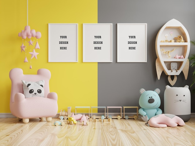 Mock up poster frame in children room on yellow illuminating and ultimate gray wall background.3d rendering Premium Psd