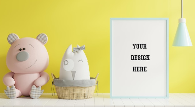 Mock up poster frame in children room on yellow illuminating wall background.3d rendering Free Psd