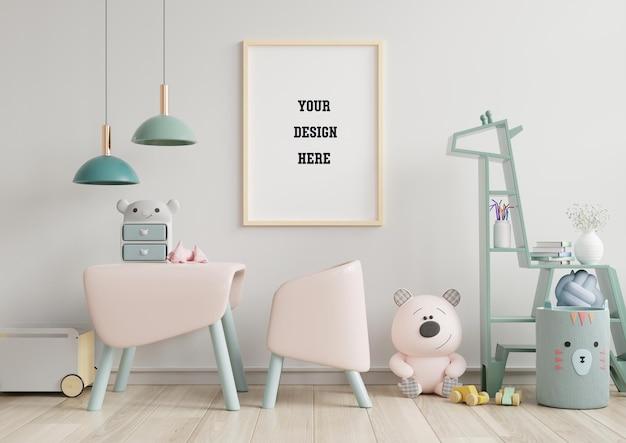 Mock up poster frame in children room Premium Psd
