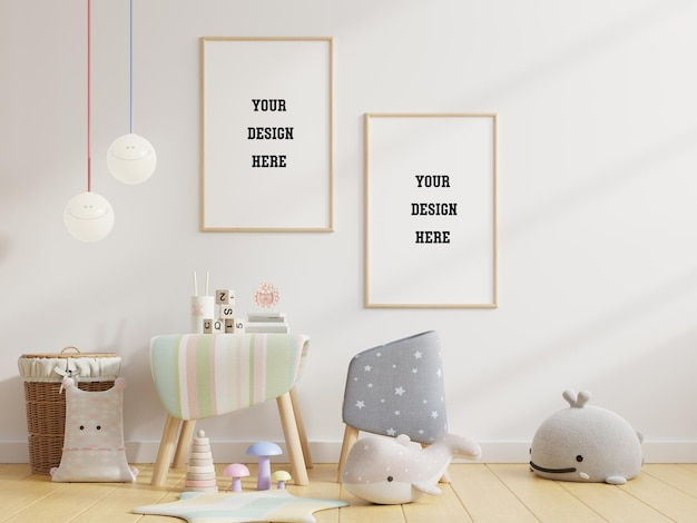 Mock up poster frame in children room Premium Psd