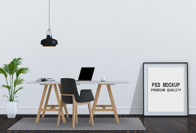 Mock up poster frame and desk laptop computer. 3d render. Premium Psd