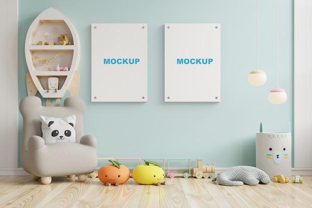 Макет рамки плаката в детской комнате, детской комнате, макете детской, синей стене, 3d-рендеринге Бесплатные Psd