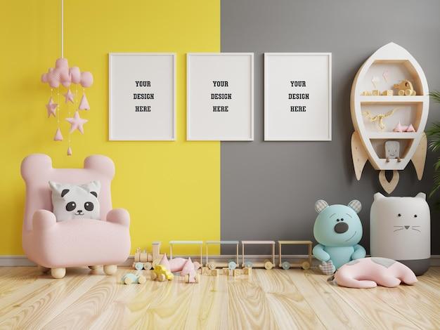 Макет рамки плаката в детской комнате на желтой подсветке и окончательном сером фоне стены. 3d визуализация Premium Psd