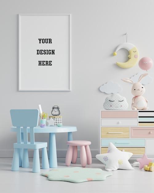 子供部屋のポスターフレームをモックアップ Premium Psd